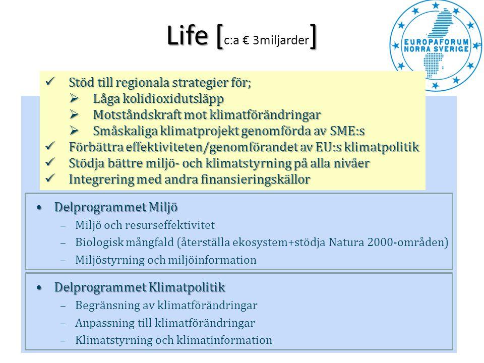 Life [c:a € 3miljarder] Stöd till regionala strategier för;